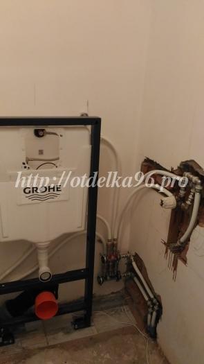 Установка инсталляциии Grohe, монтаж коллекторов холодной и горячей воды